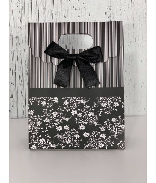 Stripe and flower mini gift bag