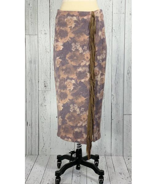 Lace fringe maxi skirt