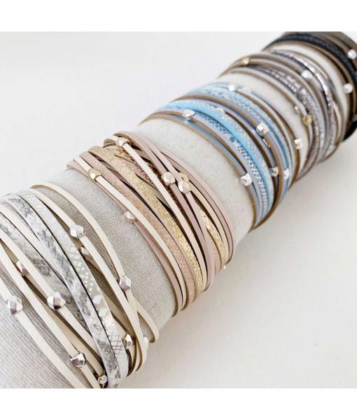 Double wrap multistrand bracelet