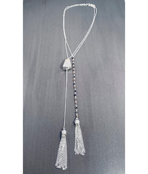 Silver chain necklace with stone and fringe tassel