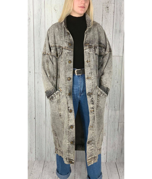 Ada acid wash denim trench