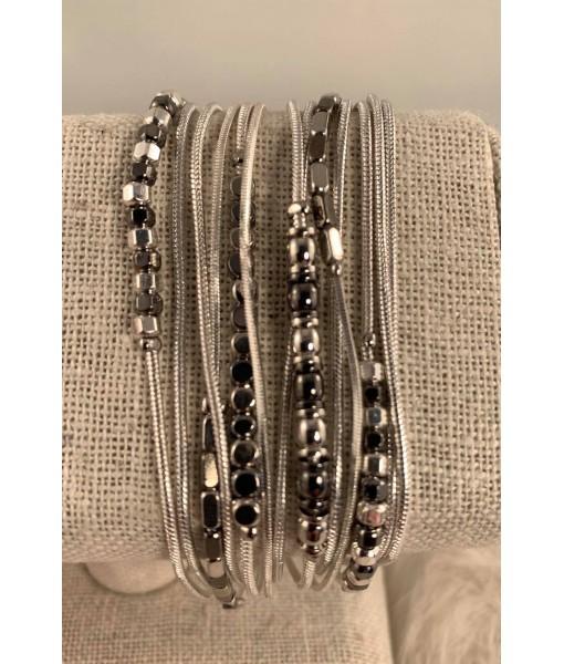 Silver multirow bracelet
