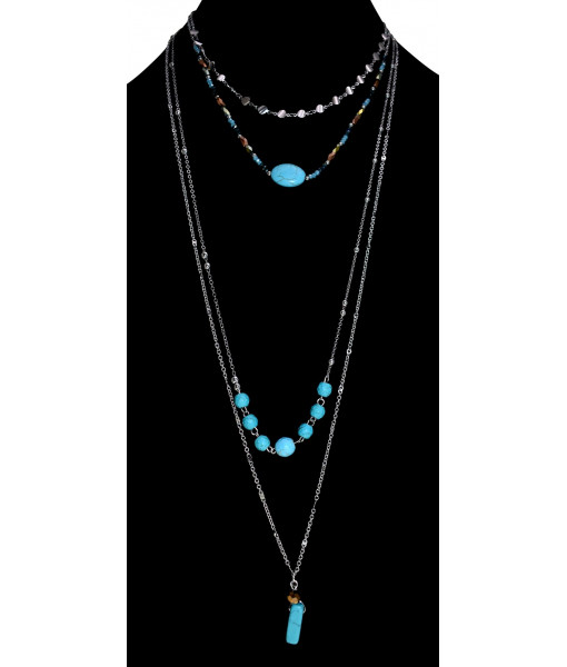 Multirow chain necklace with turquoise stones