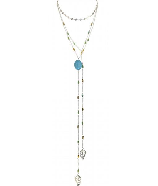 Multi row silver chain