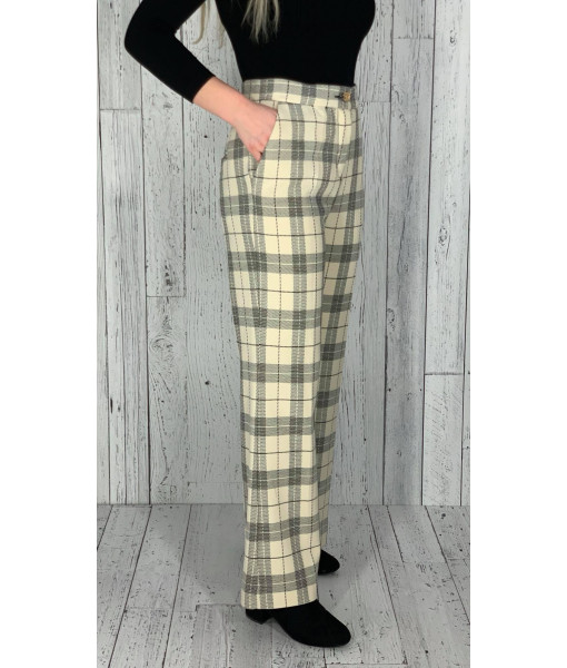 Bô M ivory plaid pants