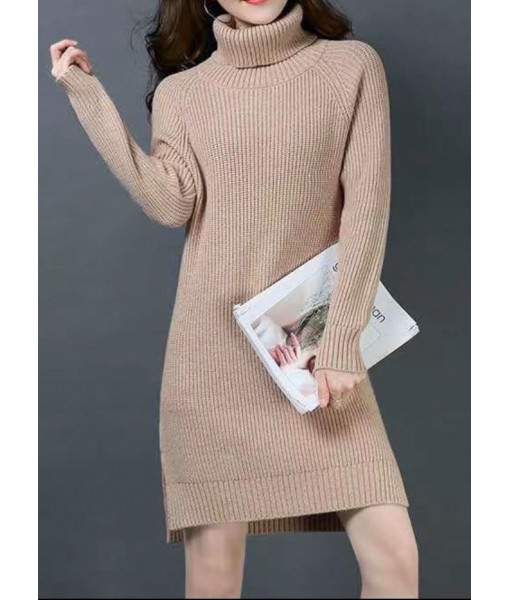 Tutle neck knit sweater dress