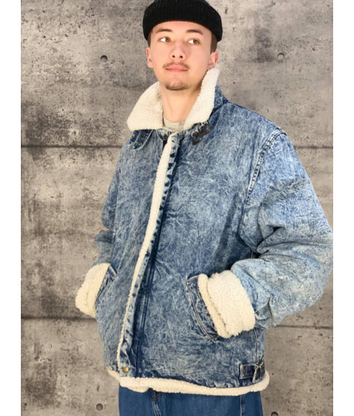 Denim acid wash sherpa jacket