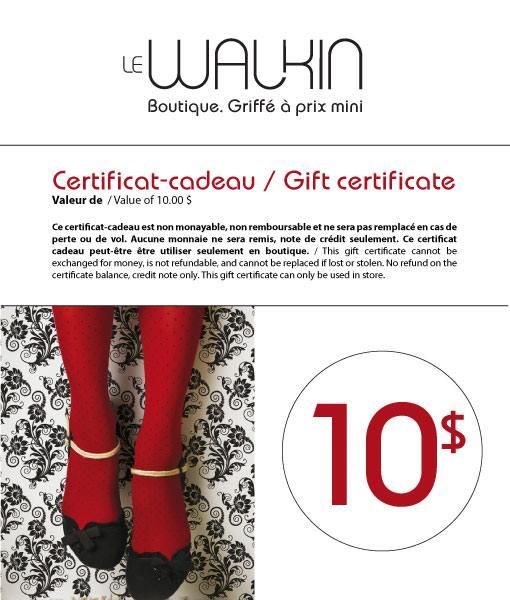 Certificat-cadeau 10$