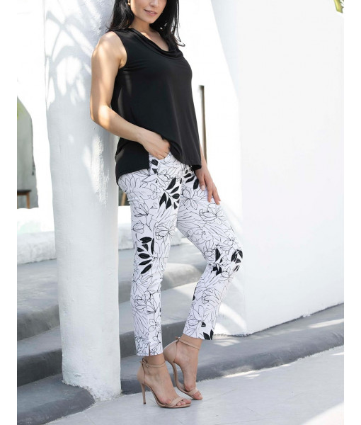 Leaf printed pants