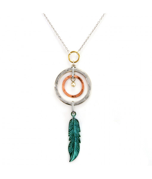 Necklace circles and feather